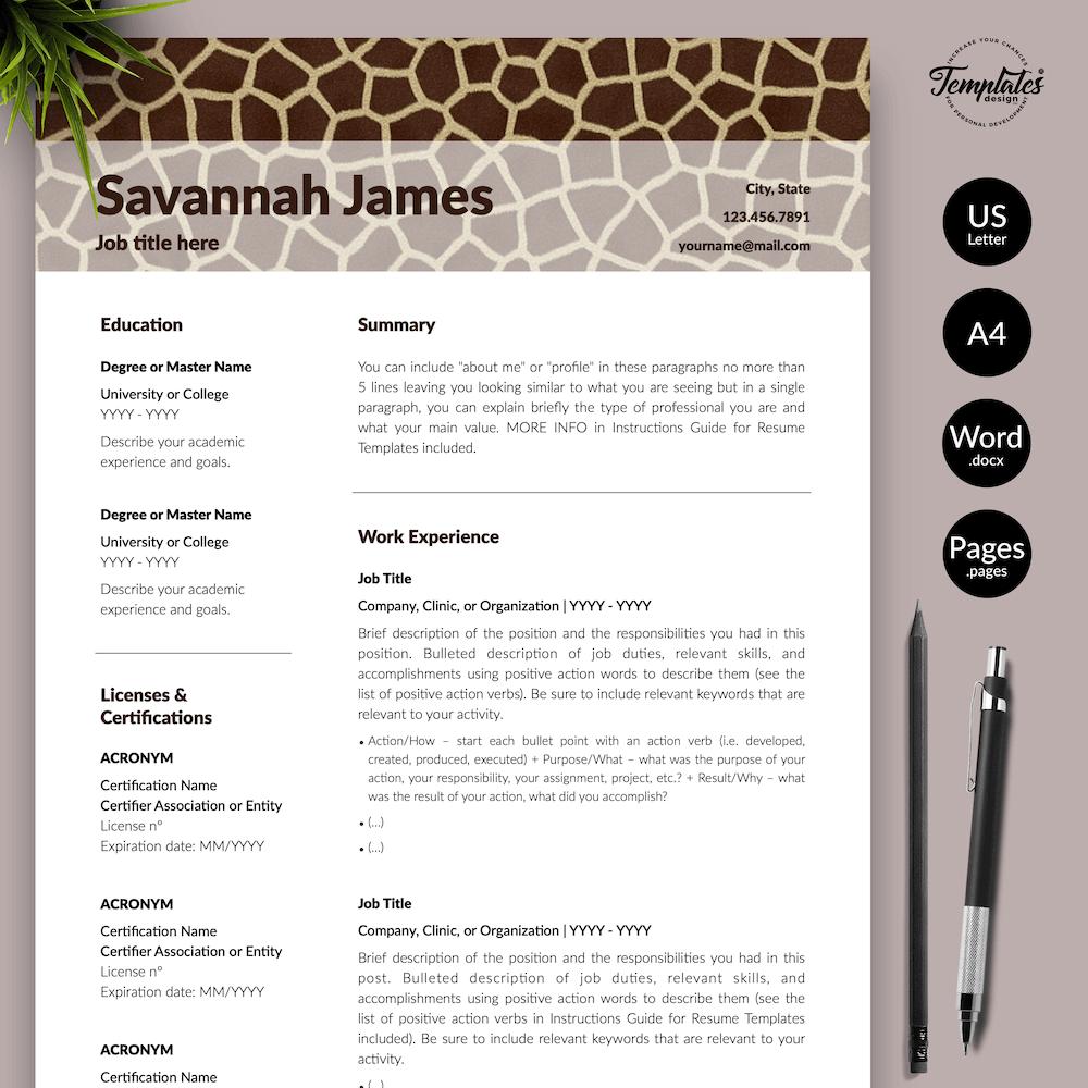 Zoologist Resume Template - Savannah James 01 - Presentation - New version