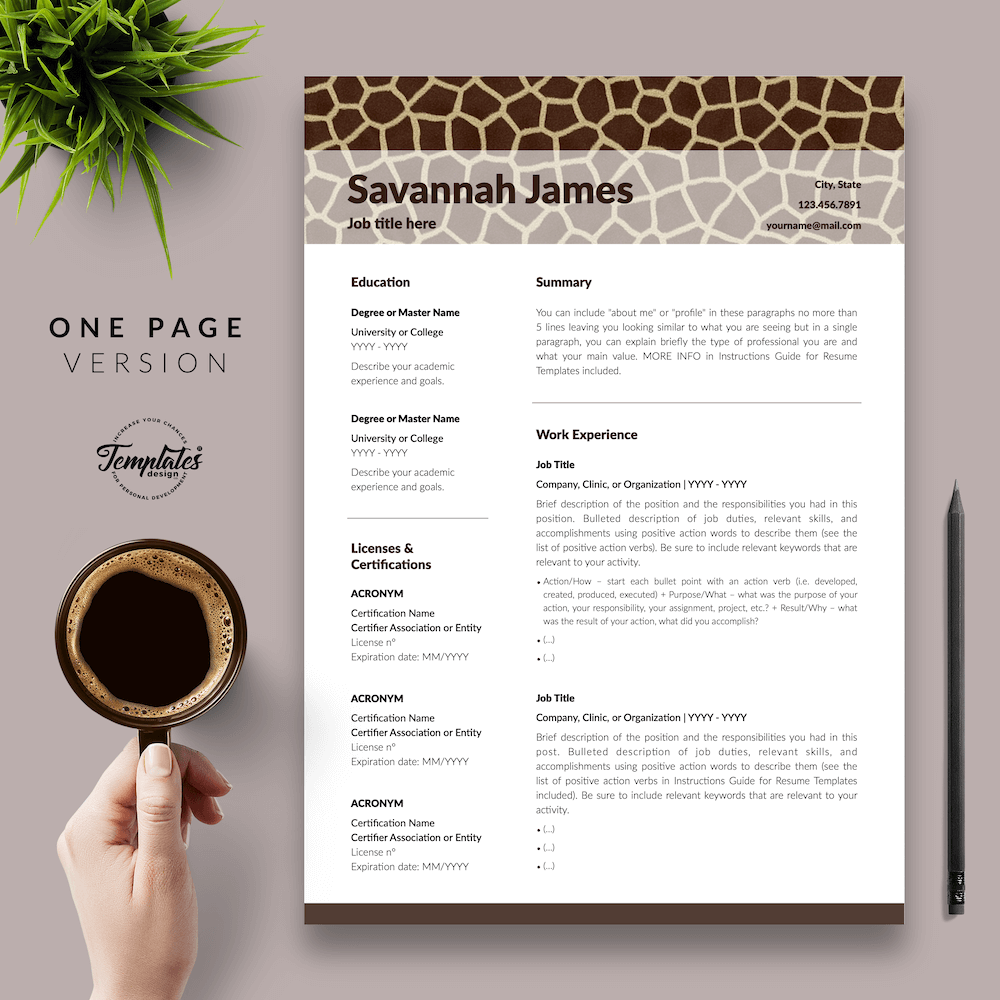 Zoologist Resume Template - Savannah James 02 - One Page Version - New version