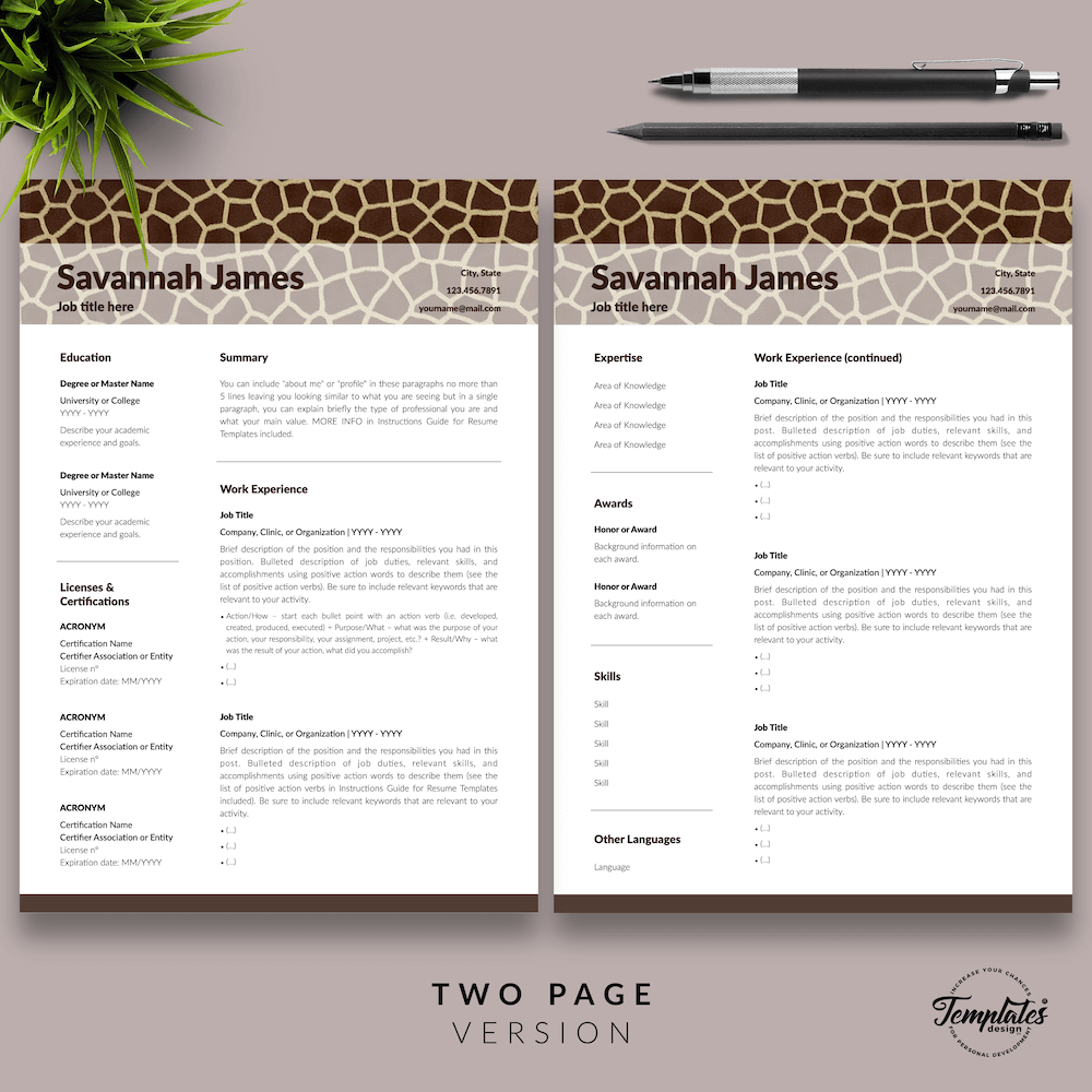 Zoologist Resume Template - Savannah James 03 - Two Page Version - New version