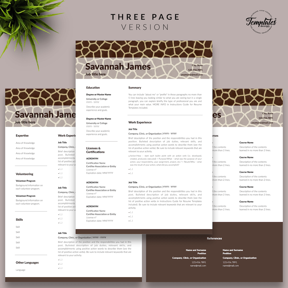 Zoologist Resume Template - Savannah James 04 - Three Page Version - New version