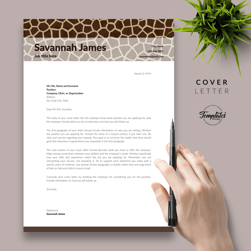 Zoologist Resume Template - Savannah James 05 - Cover Letter - New version