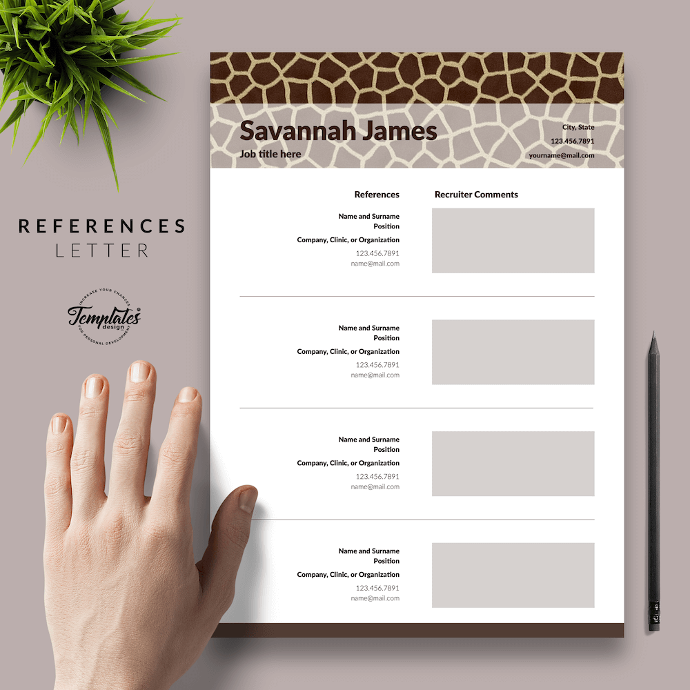 Zoologist Resume Template - Savannah James 06 - References - New version