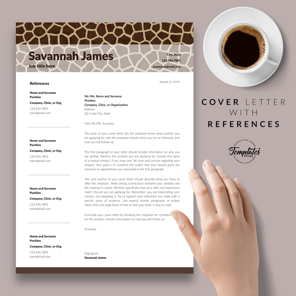Zoologist Resume Template - Savannah James 07 - Cover Letter with References - New version
