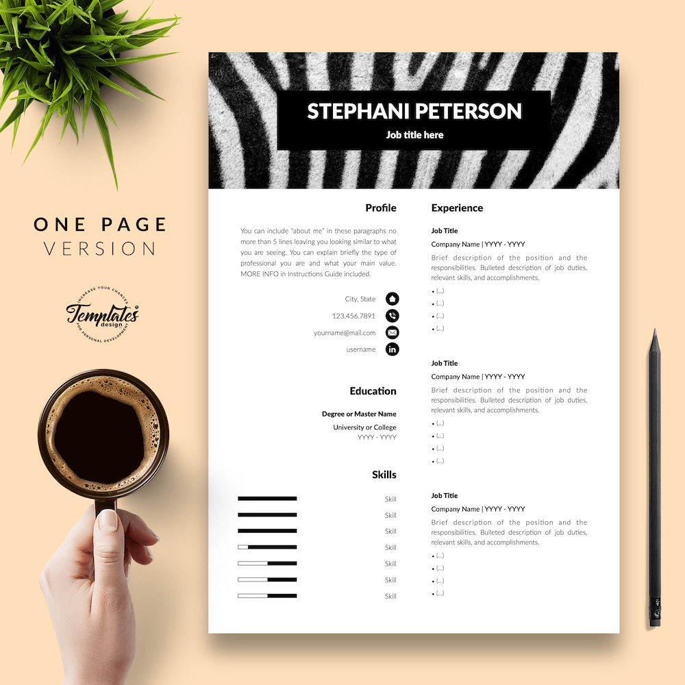 Animal Care CV Template - Stephani Peterson 02 - One Page Version - New version