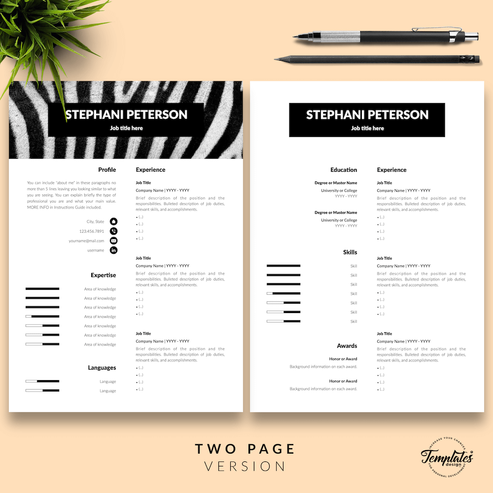 Animal Care CV Template - Stephani Peterson 03 - Two Page Version - New version