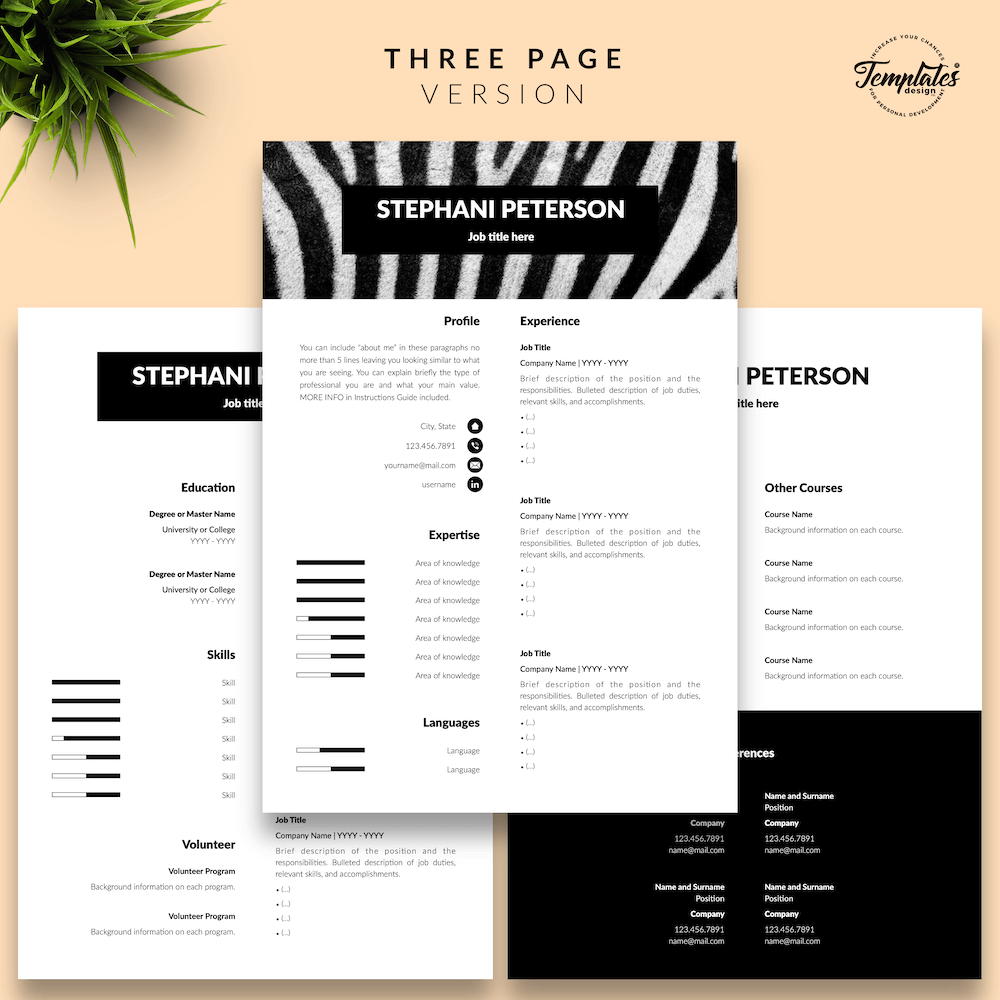 Animal Care CV Template - Stephani Peterson 04 - Three Page Version - New version