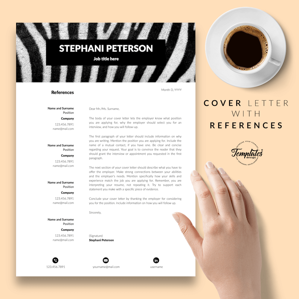 Animal Care CV Template - Stephani Peterson 07 - Cover Letter with References - New version
